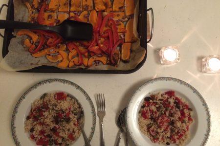 Rijst met pompoen, rozijn en koekkruiden